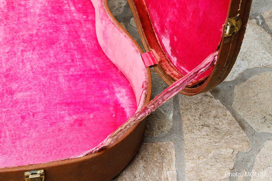 ギブソンのケースらしいピンクの内張り