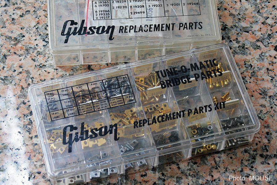 ギブソン用のパーツが入ったクリアボックス