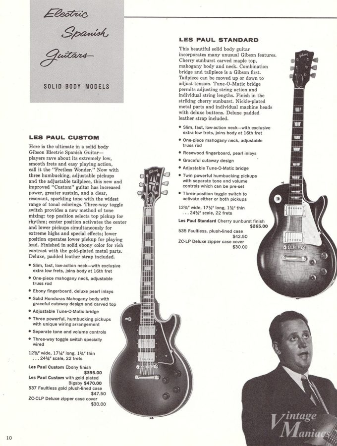 1960年のレスポールと付属品の価格