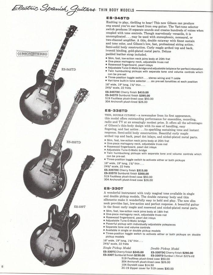 1961年のギブソン・カタログに掲載されたESシリーズ