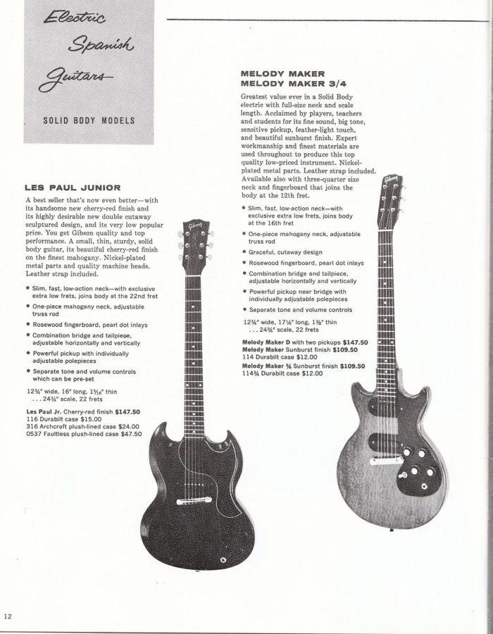 1961年のレスポール・ジュニアとメロディーメーカーのカタログ