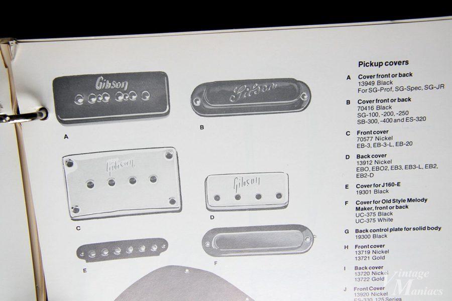 ピックアップカバーが掲載されたギブソンのカタログ