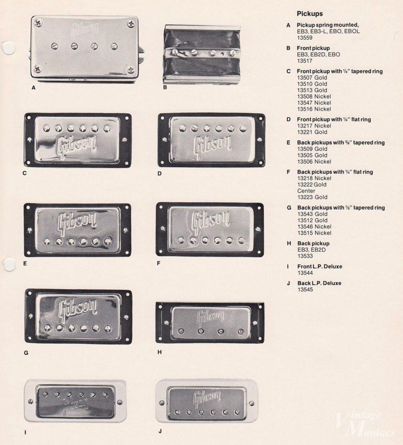 ギブソンのロゴ入りピックアップカバーがまとめられたカタログ