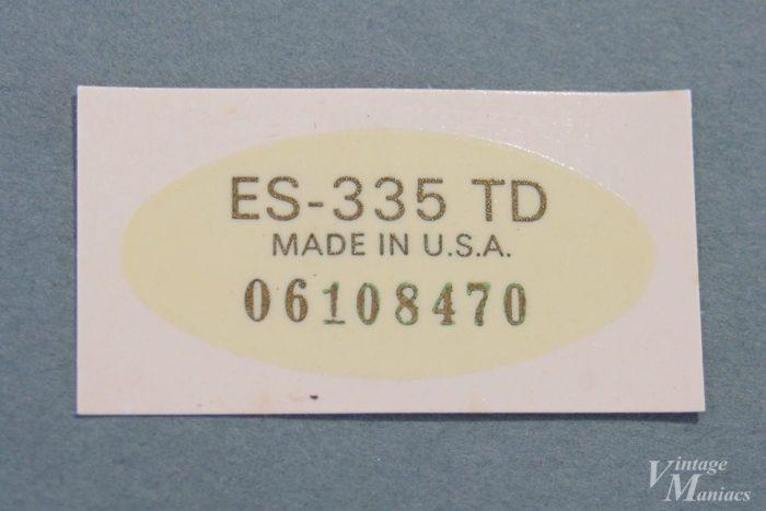 ES-335 TD用のシリアル入りデカール