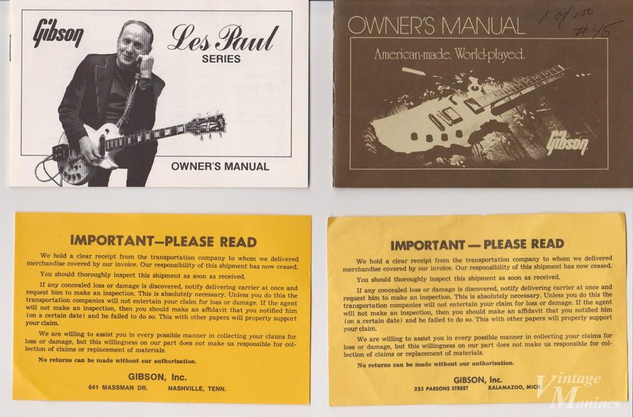 ギターに同梱されていた注意書きのタグ