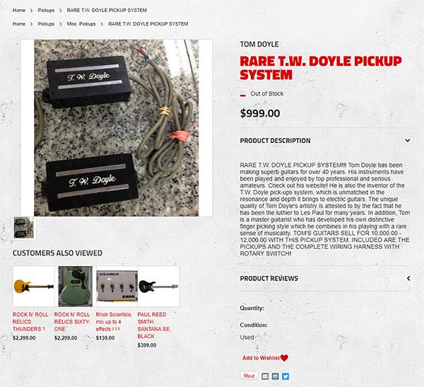 Boston Guitarのサイトに掲載されたT. W. Doyleピックアップ