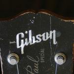 ヘッドストックに輝く白蝶貝のGibsonロゴ・インレイ