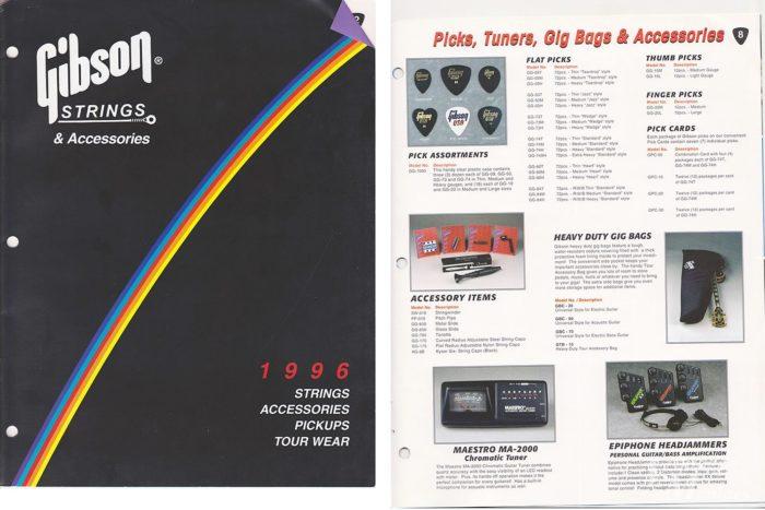 1996年のギブソンのカタログに掲載されたピック