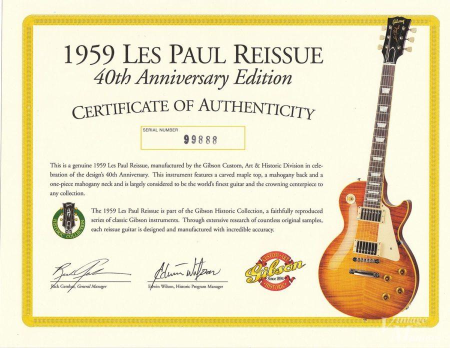 40th Anniversaryレスポールのサーティフィケート