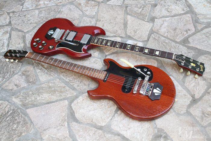 チェリーレッドのギターとエボニーブロックの組み合わせ