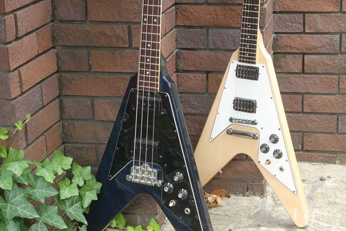 81年のフライングVギターとベース