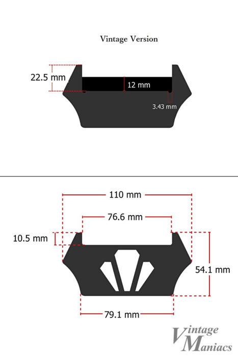 ヴィンテージタイプのエボニーブロックの寸法図