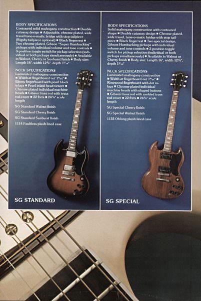 GibsonのSGシリーズのカタログ
