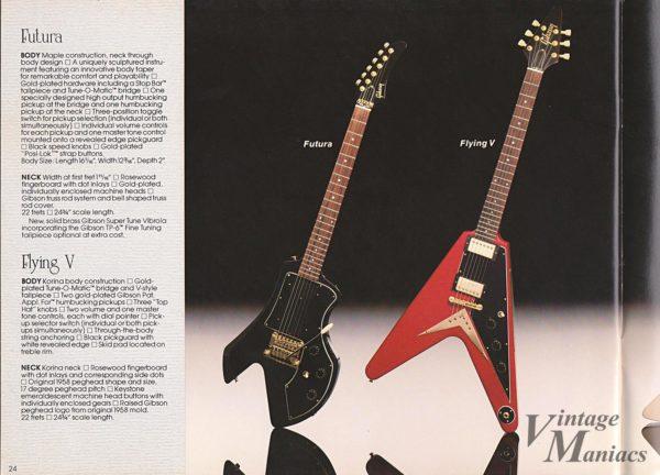 ギブソンのカタログに掲載されたフューチュラとメタリックレッドのフライングV