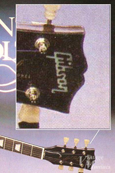 30thアニバーサーリ・レスポール・ゴールドトップのヘッドストックのGibsonロゴ