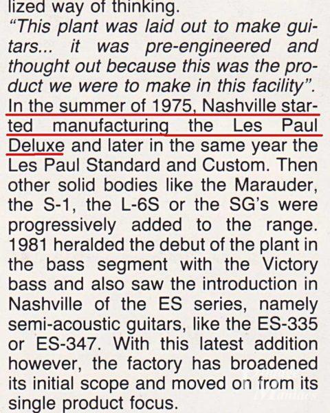 ナッシュビル工場で初めて作られたのはレスポール・デラックス