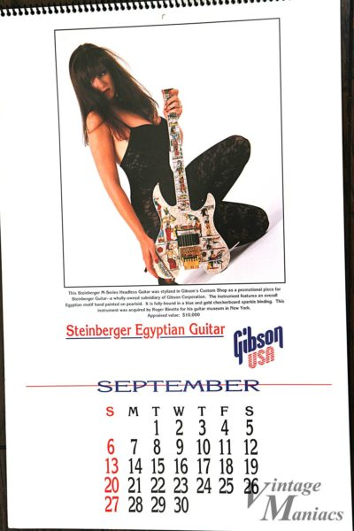 Steinberger Egyptian Guitarが掲載されたカレンダー