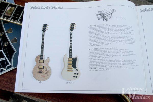 Gibson L-5Sのスペックが掲載されたカタログ