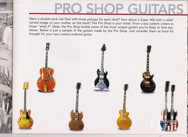 2004年のカタログに掲載されたGibson Pro Shop Guitars