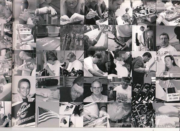 ギブソン工場で働く職人の写真