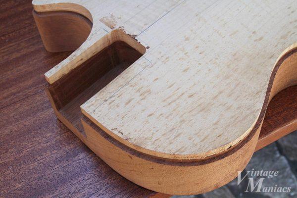 工場での製作に使われたレスポールのボディ