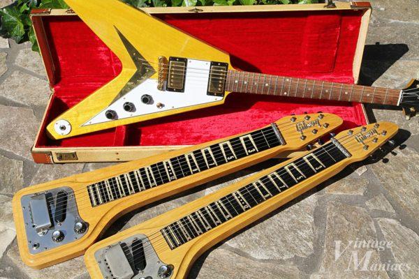 バッカスのフライングVとギブソンのラップスティールギター