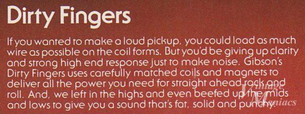 カタログに掲載されたDirty Fingersの説明