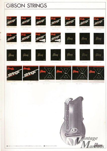1981年のカタログに掲載されたギブソンの弦