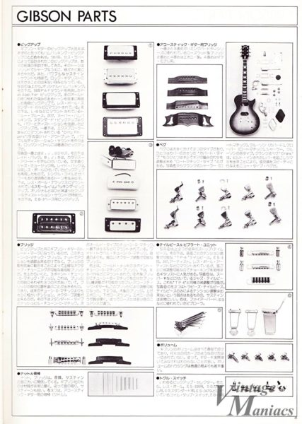 1981年の日本語版のGibsonパーツ・カタログ