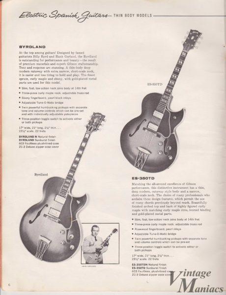 ByrdlandとES-350TDが掲載されたギブソンのカタログ