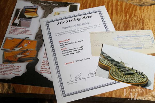 Six String Artsのサーティフィケート