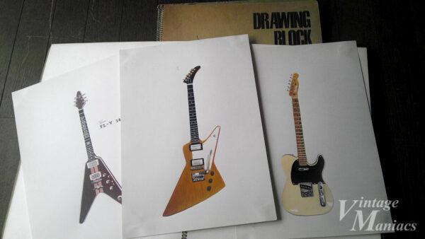 著者が高校時代に描いたギターのイラスト