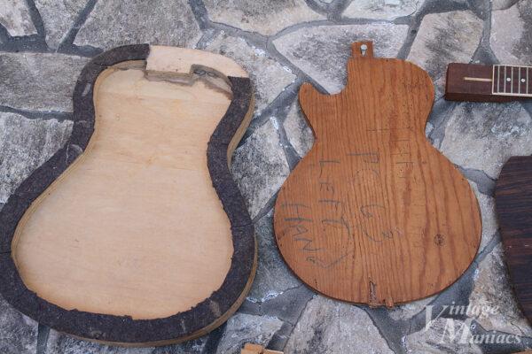 フラットトップ・ギター用らしき治具と左利き用レスポールのテンプレートのようなもの