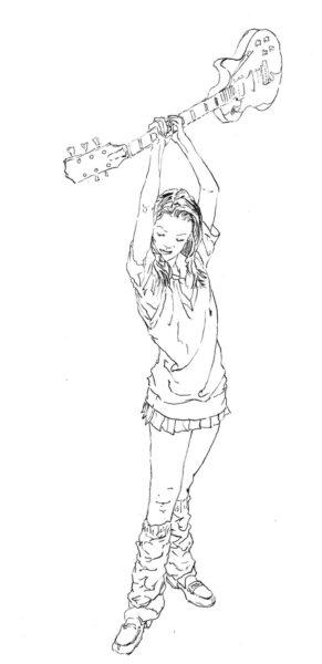 レスポールを持つ少女のイラスト
