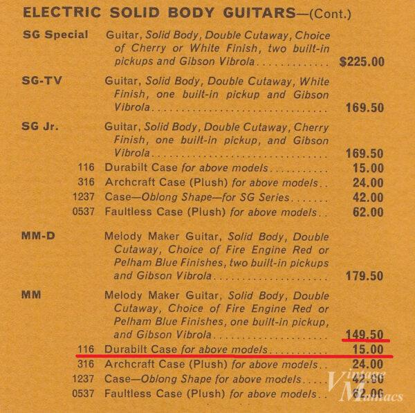当時のギターとケースのプライスリスト